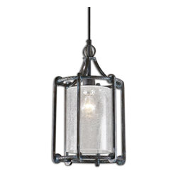 Carolyn Kinder - Carolyn Kinder Generosa Crackle Glass Transitional Hanging Lantern X-72022 - Refreshing Turquoise Washed Rust Black Finish On A Sturdy Forged Metal Lantern Shaped Pendant. Clear Crackle Glass Shade Diffuses The Light For An Inviting Look. 60 Watt Antique Style Tubular Bulb Included.