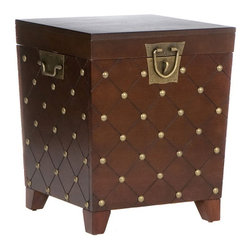 "Holly & Martin - Holly & Martin Caldwell Trunk End Table-Espresso X-21-3-420-350-10 - With a deep espresso finish and antique gold nail heads this trunk has a worldly appeal. Each nail head is placed at the intersections of the grooved diamond pattern lines that wrap around the body of the trunk. The lid lifts to reveal an extra-large storage area that is ideal for pillows, blankets and other household necessities. Durable metal hardware finishes the piece with handles and a decorative padlock latch.  - FEATURES:                                                                                             - Lid opens for lots of storage                                                                         - Antique gold hardware                                                                                 - Espresso stain finish                                                                                 - PRODUCT SPECIFICATIONS:                                                                               - Tabletop: 20"" W x 20"" D                                                                               - Interior storage: 16.5"" W x 16.5"" D x 17"" H (plus 2.25"" H in lid)                                     - Clearance: 13.25"" W x 13.25"" D x 2.75"" H                                                              - Approx. weight: 48 lb.                                                                                - Supports up to: 40 lb. (top), 60 lb. (interior storage)                                               - Materials: MDF, pine veneer, hardwood, metal                                                          - Assembly required                                                                                     - Overall: 21"" W x 21.25"" D x 24"" H"