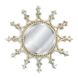 Hickory Manor House - Scalloped Mirror in Old World White Finish - Vintage original. Custom made by artisans unfortunately no returns allowed. Enhance your decor with this graceful mirror. Made in the USA. Made of pecan shell resin. 23 in. Dia. (8 lbs.)