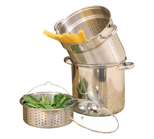 Cookpro - Stainless Steel Pasta Cooker 8qt 4pc - 8qt professional 18/10 stainless steel 4 pc multi-cooker with cooker pot, steamer basket, pasta basket and vented tempered glass lid. Encapsulated base provides faster and even heat distribution.