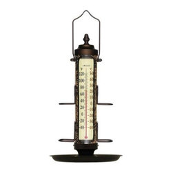 ConantCustomBrass - Bird Feeder Thermometer 18 Inch with Tray Bronze Patina - Anodized Aluminum and UV stabilized polycarbonate. Fahrenheit and Celsius Scales. Top and bottom remove for easy filling and cleaning.