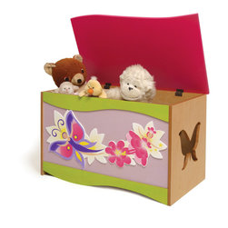 Magic Garden Toy Box - A large quality toy chest that will be treasured as much as the treasures it holds. Flower Fairies and Butterflies accent this toy chest, made of birch veneers and finished in colorful stains. Wave shaped lid is solid birch wood. Safety hinges and finger space under lid ensure that little fingers won't get hurt.