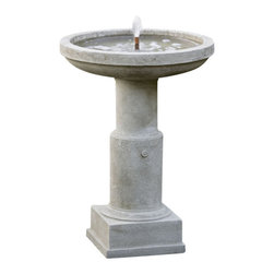 Campania - Powys Garden Water Fountain, English Moss - This birdbath shaped fountain is the perfect way to add a simplistic focal point. The Powys Garden Fountain is great for use in your garden or even your front yard for the neighborhood competition. This fountain is available with a fountain cover to protect it during the colder months, ensuring your fountain will be in perfect running order for years to come!