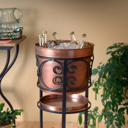Payson Party Bucket Stand - Perfect for patio or formal dinner parties, our delightful iron and antique copper-toned metal bucket stand will bring beautiful style and functional convenience tableside, and with the comfortable height and handy drip catcher tray below, it will quickly become your favorite entertaining accessory.