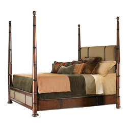 Lexington - Tommy Bahama Home Landara Monarch Bay Poster Bed, California King - Padded panels of elegant woven linen in a rich chestnut brown coloration grace the headboard and footboard. Adjustable high and low post options, topped with carved finials, make this bed as beautiful as it is comfortable. Fabric available only as shown in Sawgrass.