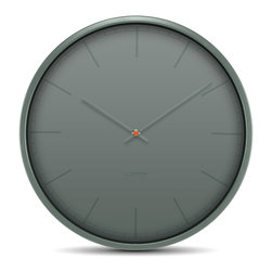 LEFF Amsterdam - LEFF Amsterdam Wall Clock Tone, Grey - The contrast in this design is not formed by the colours itself, but by its finish. A glossy transparent spot varnish is printed on the matte dial to create a so-called ton-sur-ton effect. Depending on the light, the index print is clearly visible, slightly visible or not even visible at all. Let light set the tone