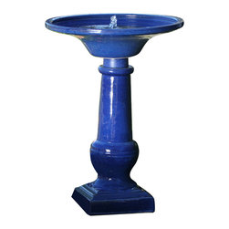 Smart Solar - Athena Blue Ceramic Birdbath - Hand-made Ceramic birdbath . Creates a relaxing atmosphere on your patio, deck, balcony or in your garden . Solar-on-demand allows you to choose when you wish your birdbath to work using an easy on/off switch on the solar panel. Operate daily and use our battery technology to provide consistent performances even cloudy weather. Turn off to charge during the day for night use. Battery will fully charge in one sunny day. Battery capacity for up to 6 hours of operation . Recycles water from a hidden reservoir . No wiring, simply install and enjoy . No operating costs . Basin Capacity: 2.3 gallons. Solar panel . Voltage: 6V . Current: 180mA . Power: 2W . Battery: 1000mAh sealed battery . Pump. Voltage: 6V . Current: 130mA . Flow rate: 55gph. 18.11 in. L x 25.2 in. W x 27.95 in. H (34.5 lbs.)In line with our policy of continuous product development Smart Solar reserves the right to change, vary or alter the product specification without prior notification.