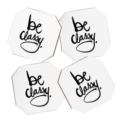 Kal Barteski Be Classy 4 Coasters and Bamboo Holder - Say goodbye to water rings on your furniture and hello to the stylish solution: DENY Designs' Coaster Set. Available in a set of four, you can also opt for the coaster tray to house the set or go the a la carte route. Either way, your glasses are going to get a fun drinking companion!