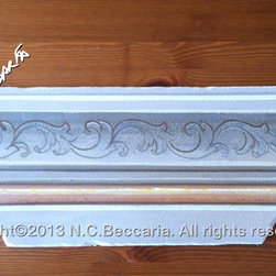 Lime painted samples of Italian decoration on gesso board -