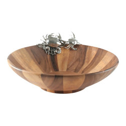 Vagabond House - Large Pewter Crab And Acacia Wood Serving Bowl - Large Pewter Crab And Acacia Wood Serving Bowl