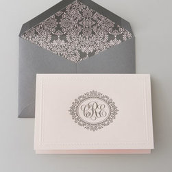 "Horchow - 100 Blush Folded Notes & Envelopes - Elegantly simple heavyweight stationery features hand-engraved personalization to add a sophisticated touch to correspondence. Gray flat cards, 3.875"" x 7.25"", feature a full name in black in fonts shown; specify up to 36 characters/spaces. Matching en..."