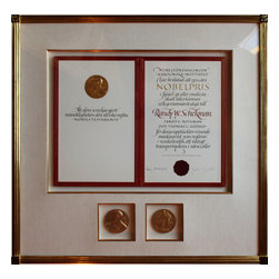 Memento Framing - We got more excited about framing this client's Nobel Prize certificate and medals than any piece of wonderful art we've done.  We had our craftsmen hand carve and water gild the frame we designed with black and gold scrafitto corner details.  All items were affixed in the linen covered/22k gold trimmed mat openings without using glues of any kind.  The result is a classic and timeless way of displaying and preserving these hard-earned awards...