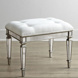 """Horchow - Vanity Seat - Antiqued mirrored veneers cover the select hardwood frame of this stylish vanity with gold- and silver-leaf accents. With four drawers and a center storage section with lift-up cover. Vanity is mirrored on all sides. 45""""W x 20""""D x 30""""T. The kneehole i..."""