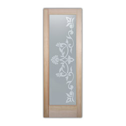 """Bathroom Doors - Glass Bathroom Door Frosted Obscure  LYDIA - CUSTOMIZE GLASS BATHROOM DOORS!  Quality frosted glass bathroom door designs YOU Customize to suit YOUR decor!  Obscure glass bathroom doors create obscurity thru art!  Ship for just $99 to most states, $159 to some East coast regions, custom packed and fully insured with a 1-4 day transit time.  Available any size, as bathroom door glass insert only or pre-installed in a door frame, with 8 wood types available.  ETA for obscure decorative glass bathroom doors will vary from 3-8 weeks depending on glass & door type.........Block the view, but brighten the look with a beautiful interior glass door featuring a custom frosted glass design by Sans Soucie!   Select from dozens of sandblast etched obscure glass designs!  Sans Soucie creates their bathroom glass door designs thru sandblasting the glass in different ways which create not only different effects, but different levels in price.  Choose from the highest quality and largest selection of frosted decorative glass interior doors available anywhere!   The """"same design, done different"""" - with no limit to design, there's something for every decor, regardless of style.  Inside our fun, easy to use online Glass and Door Designer at sanssoucie.com, you'll get instant pricing on everything as YOU customize your door and the glass, just the way YOU want it, to compliment and coordinate with your decor.  When you're all finished designing, you can place your order right there online!  Glass and doors ship worldwide, custom packed in-house, fully insured via UPS Freight.   Glass is sandblast frosted or etched and bathroom door designs are available in 3 effects:   Solid frost, 2D surface etched or 3D carved. Visit our site to learn more!"""