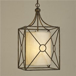 Riviera Iron Lantern - An inner cream linen shade softens the hard lines of the iron exterior.