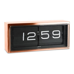 LEFF Amsterdam - LEFF Amsterdam Wall/Desk Clock Brick, Copper, 24H Black - The ultimate heavy duty piece of the LEFF Amsterdam collection. Brick is a vintage flip clock, reinvented and redesigned, with a unique combination of materials and graphics. Inside the stainless steel case a precision machine provides you a different colors and tones. Form deep earth tones to bright citrus colors and through lustrous metallics, these basket weaves have now become a signature weave for Chilewich. Made in the USA. Different composition of numbers every minute. The case is welded and brushed by hand which brings this clock to a high level of craftsmanship. The clock can be displayed on a desk or hung on a wall. Requires AA battery; not included.