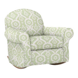 "Dream Rocker & Ottoman - Dimensions. Rocker: 39""W x 33""D x 36""H. Ottoman: 22"" x 22"" x 16.5""H. Available in a variety of slipcover upholstery options. Prices range from $149-$249."