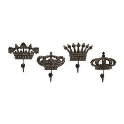Regent's Crown Hooks - Set of 4 - Set of four porcelain crown hooks fit for a king.