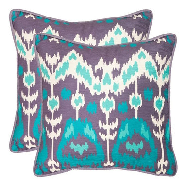 Safavieh - Safavieh Manhattan Decorative Pillows - Aqua / Cream - Set of 2 Multicolor - PIL - Shop for Pillows from Hayneedle.com! Brilliant colors in a beautiful and unique pattern make the Safavieh Manhattan Decorative Pillows - Aqua / Cream - Set of 2 quite stunning. These knife edge throw pillows are made from 100% polyester with a hypoallergenic fiberfill insert and have a hidden zipper closure. Available in your choice of size you can spot clean these pillows whenever needed. About SafaviehConsidered the authority on fine quality craftsmanship and style since their inception in 1914 Safavieh is most successful in the home furnishings industry thanks to their talent for combining high tech with high touch. For four generations the family behind the Safavieh brand has dedicated its talents and resources to providing uncompromising quality. They hold the durability beauty and artistry of their handmade rugs well-crafted furniture and decorative accents in the highest regard. That's why they focus their efforts on developing the highest quality products to suit the broadest range of budgets. Their mission is perpetuate the interior furnishings craft and lead with innovation while preserving centuries-old traditions in categories from antique reproductions to fashion-forward contemporary trends.