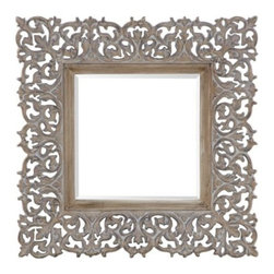 Z Gallerie - Sienna Mirror - Available exclusively to Z Gallerie customers, our magnificent Sienna Mirror is designed to make a distinctive impact in a room. Sized at an impressive 45 inches square by 4 inches deep, the extra wide concave frame is molded in a graceful openwork vine motif and finished to resemble whitewashed wood. The mirror works wonderfully in a formal setting or complements casual decor as well.