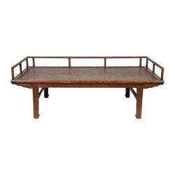 Used Antique Chinese Day Bed - This piece does it all. It's a simple, yet chic Chinese day bed with woven rattan seat that'l look great in any area. We're picturing it in a sunroom full of bright patterned pillows.