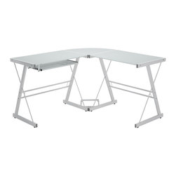 Walker Edison - Walker Edison 3-Piece Soreno Desk - White/White X-92W15D - This contemporary desk offers a sleek, modern design crafted from powder coated steel and thick, tempered safety glass. The L-shape provides a corner wedge for space-saving needs with a look that is both attractive and simple.  Includes a universal, autonomous CPU stand and a sliding keyboard tray. A flexible configuration allows the keyboard tray to be mounted on either side of the desk. This desk is the perfect addition to any home office.Features:&#8226: Stylish, contemporary design&#8226: Polished and beveled, tempered safety glass&#8226: Durable steel frame with powder-coated finish&#8226: Sliding keyboard tray can be mounted on either side of desk&#8226: Space-saving L-shape design&#8226: Universal, autonomous CPU stand included&#8226: Ships ready-to-assemble with necessary hardware and tools&#8226: Assembly instructions included with toll-free number and online support