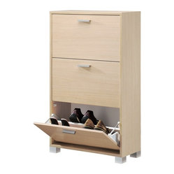 Sarmog - Natural Oak Shoe Rack With 3 Folding Doors - Save precious primping time