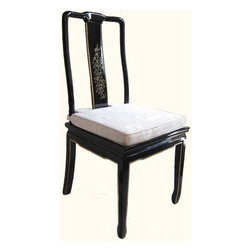 "n/a - Oriental Black Lacquer Side Chair with Mother of Pearl Lady Inlays and Silk Cush - Charming Chinese Ming style Side Chair made from solid Philippine mahogany. Includes cushion for maximum comfort. Decorative mother of pearl inlaid back adds style to this sturdy piece. Meticulously finished in lustrous shiny black lacquer with painted Oriental floral design on back rest. Use it with a desk, a game table, or at your dining table to complete your Oriental Dining Room..Dimensions: 16"" wide X 18"" deep X 39"" tall"