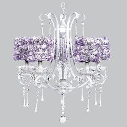 Belle & June - Lavender Rose 5 Light White Colleen Chandelier - This strikingly elegant 5 light white Colleen chandelier features lavender rose garden drum shades and hanging crystals throughout. We can't think of anything more charming than hanging this in a little girl's bedroom or nursery.