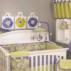 Cotton Tale Designs - Periwinkle Decor Kit - A quality baby bedding set is essential in making your nursery warm and inviting. All Cotton Tale patterns are made using the finest quality materials and are uniquely designed to create an elegant and sophisticated nursery. The Periwinkle Decor Kit includes Wall Art, Standard Lamp, and Mobile. Periwinkle wall are is 3 pieces each measuring 12 x 12. It is hand painted on 1/2 inch foam board on white canvas and hangs with its ribbon ties or can be framed. The Periwinkle Lamp in cream resin and shade measures 19 inches in height. Shade in contemporary floral with periwinkle dot trim measures 8 x 9 x 4. Shade made in the USA. Manufacturer recommends no more than a 40 watt bulb. Spot clean only. Periwinkle musical mobile has star shaped flowers in periwinkle dot dancing around a green lattice canopy with trim and arm cover in periwinkle dot. Wind up mechanism plays Brahms Lullaby. Basic assembly required, hardware fits most all cribs and for those it does not fit a wall mount is included. Mobiles are not toys and should be removed from crib when baby starts to sit up and pull up. Canopy and pieces 100% cotton. Perfect for little girls.