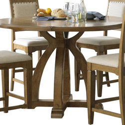 Liberty Furniture - Liberty Furniture Town & Country 54 Inch Round Gathering Counter Height Table in - From the mountains to the coast, inside the city, or out in the country, Town & Country features a transitional styling that can work for any taste. Simply styled cases are accented with a step top design to soften the straight lines. Shaped block feet raise the cases for an airy appeal. Arched trestle base features the easy glide mechanism for smooth opening. Planked accent tops keep the casual appeal. Wood framed upholstered chairs in a linen feature nail head trim. What's included: Counter Height Table (1).