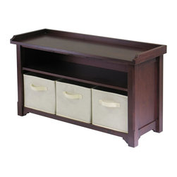 """Winsome Wood - Winsome Wood Verona Verona Storage Bench with 3 Foldable Beige Color Fabric Bask - New Verona bench with shelf, seat and 3 beige fabric containers is a great addition to entry ways, bedrooms, craft rooms and family rooms. The walnut finished bench is 40""""L x 14.2""""D x 22""""H. There is a seat for sitting, a shelf for storage and the 3 black fabric boxes are collapsible for storage when not in use. Bench is shipped ready to assemble with hardware and tools"""