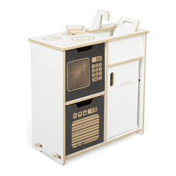 Sprout - Sprout Modern Play Kitchen Set, White - The Sprout Play Kitchen was designed to inspire imagination and creative play in your kids.  The play kitchen includes a stove top, toaster, sink, microwave, oven, and fridge as well as two slices of bread and a cutting board.