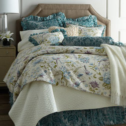 """Dian Austin Couture Home - Dian Austin Couture Home Queen Cotswold Cottage Duvet Cover, 90"""" x 95"""" - Exclusively ours. A bird and garden print captures the beauty and serenity of the English countryside in this bed linens collection from Dian Austin Couture Home®. Ruching and ruffles of burnout velvet add both vintage-style flair and modern color. Handcrafted in the USA of domestic and impor"""