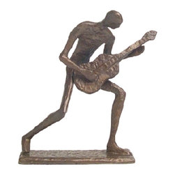 None - Cast Bronze Crouching Guitar Player Sculpture - For the musician or music lover, these musical bronze sculptures are hand-crafted using sand as the mold material. The seven-inch bronze sculpture featuring a figure enthusiastically playing a guitar is the perfect accent for any home or office.