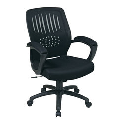 Office Star - Office Star Screen Back Designer Contoured Shell Chair with Black Mesh - Office Star - Office Chairs - EM597223