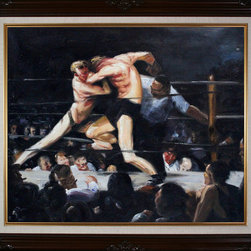 """overstockArt.com - Bellows - Stag Night at Sharkey's Oil Painting - 20"""" x 24"""" Oil Painting On Canvas An athlete himself, George Wesley Bellows uses a metaphor to depict the brutal sport of boxing: two stags locked in combat. While prizefighting is illegal in New York City in the early part of the twentieth century, underground fight clubs like Sharkey's prosper while catering to the blood lust of enthusiastic spectators. Bellows uses the comparison of stags locked in combat to relate the violent world of boxing to violence in nature. The spectator's expressions are contorted and just as frenzied and passionate as the fighters themselves. Considered an enduring piece of art, the intensity of this painting comes to life on canvas, and will be a conversation piece for any room. """"...the most acclaimed American artists of his generation."""" Columbus Museum of Art George Wesley Bellows (1882-1925) was an American painter who lived and produced most of his work at the start of the twentieth century. Known for bold depictions of urban life in New York City, Bellows captures American pastimes based on his love of athletics. Bellows' style mixes dark atmospheres with bright light and geometrical shapes with long brushstrokes giving his scenes a sense of perpetual, fluid motion. These hallmarks of his style allowed Bellows to depict the grittiness of American society, a popular movement amongst turn-of-the-century realist artists. Although boxing scenes are Bellows' major contribution to art history, he later cultivates a more refined style and develops his use of light and dark to characterize the griminess of urban life fueled by the political and social themes of his time."""