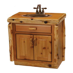 Fireside Lodge Furniture - Cedar 30 in. Log Vanity (w/o Top) - Choose Vanity: w/o TopSink & faucet are not included. Cedar Collection. 2 Door storage cabinet. All drawer fronts and doors are inset. All hinges are concealed European Style for a clean uncluttered look. Full-extension ball-bearing glides rated to 100 pounds. Northern White Cedar logs are hand peeled to accentuate their natural character and beauty. Clear coat catalyzed lacquer finish for extra durability. 2-Year limited warranty. 30 in. W x 21 in. D x 33 in. H (105 lbs.)