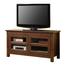 "Walker Edison - Walker Edison 44 Inch Full-Door Wood TV Console in Traditional Brown - Walker Edison - TV Stands - WQ44CFDTB - Elegance and function combine to give this contemporary wood TV console a striking appearance. The design gives a stylish modern look crafted with durable laminate and MDF board. This console will accommodate most flat-screen TV's up to 52"" with ample shelving to provide space for A/V components. Features: Stylish contemporary design Rich textured finish Tempered Safety Glass in Doors High-Grade laminate and MDF construction Accommodates most flat-screen TV's up to 52"" Ample storage space for A/V Components Sturdy construction  Ships Ready-To-Assemble  Assembly instructions included with available on-line/toll-free support"