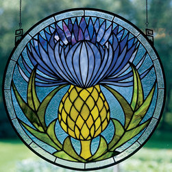 Meyda - 17 Inch W X 17 Inch H Thistle Window Windows - Color Theme: Blue Pr Lt Green 59