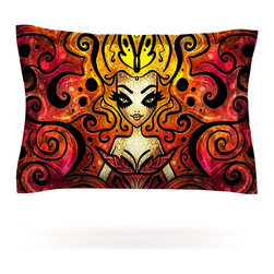 """Kess InHouse - Mandie Manzano """"She Devil Full"""" Pillow Sham (Cotton, 30"""" x 20"""") - Pairing your already chic duvet cover with playful pillow shams is the perfect way to tie your bedroom together. There are endless possibilities to feed your artistic palette with these imaginative pillow shams. It will looks so elegant you won't want ruin the masterpiece you have created when you go to bed. Not only are these pillow shams nice to look at they are also made from a high quality cotton blend. They are so soft that they will elevate your sleep up to level that is beyond Cloud 9. We always print our goods with the highest quality printing process in order to maintain the integrity of the art that you are adeptly displaying. This means that you won't have to worry about your art fading or your sham loosing it's freshness."""