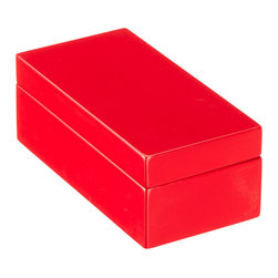 X-Small Lacquered Rectangular Box, Red - This lipstick-red lacquer box would be on my desk stashed with stamps, pens and a chocolate, or two.