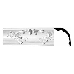 Renovators Supply - Cornice White Urethane Flora Magnificence - Cornice - Ornate | 20792 - Cornices: Made of virtually indestructible high-density urethane our cornice is cast from steel molds guaranteeing the highest quality on the market. High-precision steel molds provide a higher quality pattern consistency, design clarity and overall strength and durability. Lightweight they are easily installed with no special skills. Unlike plaster or wood urethane is resistant to cracking, warping or peeling.  Factory-primed our cornice is ready for finishing.  Measures 9 5/8 inch H x 78 3/8 inch L.