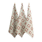 BZDesign - Hand Block Printed Tea Towel Brick Red Squared - Hand block printed tea towels with our squared print in brick red.