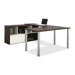 Bestar 50853-60 Contempo U-Shaped Desk - Tuxedo / Sandstone - The Bestar 50853-60 Contempo U-Shaped Desk – Tuxedo / Sandstone surrounds you with an expansive work surface on three sides plus a versatile credenza for ample storage. This U-shaped desk and credenza set comes in an attractive two-tone finish protected by scratch-resistant melamine. It also features deluxe shock-resistant PVC edge banding. Supported by an open metal leg base the desk gives your legs plenty of room as it fulfills all your storage via open shelving and credenza's file drawer. Measures 59.3W x 88.5D x 29.5H inches. About BestarEstablished in 1948 and based in Canada Bestar is a third-generation family business involved in the design manufacturing and distribution of a wide range of ready-to-assemble furniture and furniture components. Bestar's mission is to create produce and distribute mid- to high-end ready-to-assemble furniture for home offices small commercial offices and home entertainment. Bestar offers a combination of price quality and service that exceeds the expectations of customers and consumers.