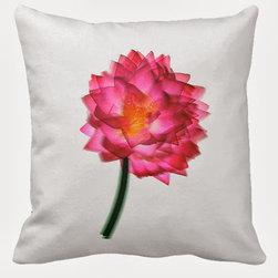 Tomova Jai Designs - Blurred Lotus Decorative Pillow - Large blurred pink lotus flower on white pillow.