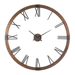 Uttermost - Uttermost Amarion Clock - Uttermost Amarion Clock is a Part of Carolyn Kinder Collection by Uttermost This oversized clock features hammered copper sheeting with a light gray wash and aged black details. Center hands movement is separate from the outside frame. Uses one AA battery. Some assembly required. Clock (1)