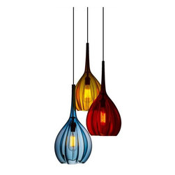 Union Street Glass - Morph Edison Pendant Light - Embolden your space with the fusion of rich color, organic lines, and industrial-style bulbs with the Morph Edison pendant.Crafted from handblown crystal in Richmond, California, these pendants have an unmatched class and jewel-like composition.All pendants are UL Listed and include a 30 watt, medium base type A  Edison bare filament bulb
