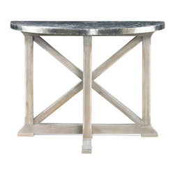Lillian August - Lillian August Baillie Console Table LA97331-01 - This swedish demilune console with a light grey washed finish and a nickel plated brass top blends classic traditional elements with a modern industrial touch. Waxed top finish.