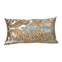 Canaan Company - 16x28 Aqua Lumbar Accent Pillow - - Printed Velvet  - 100% Poly  - Spot Clean Or Dry Clean Canaan Company - P-242-A